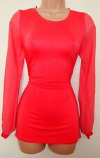 JAM PINK FUCHSIA CHIFFON SLEEVE BODYCON BELTED BACK TUBE COTTON DRESS M L