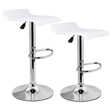 Set of 2 Modern Leather Bar Stool Adjustable Swivel Dinning Counter Chair White