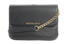 Michael Kors New Black Gold Bedford Double Gusset Crossbody Bag OSFA $198*