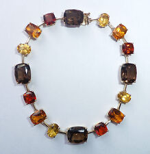 "9ct Gold Citrine, Smoky Quartz & Garnet Bracelet, 7 1/4"", Autumn Colours"