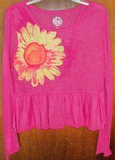 Girls Shirt sz 10 SO Beautiful Pink Ruffle & Glittery Yellow Sunflower NWT