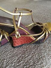 WOMENS PRADA STRAPPY GOLD DETAILED WEDGE SHOES SIZE 9