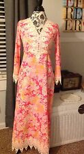 """Vintage Lilly Pulitzer """"The Lilly"""" Maxi Dress 60's/70's Floral Print Long Sleeve"""