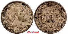 Netherlands William III Silver 1862   Sword 10 Cents Better Date KM# 80