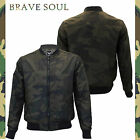 Mens Brave Soul Camouflage Military Baseball Varsity Collar Bomber Jacket Coat