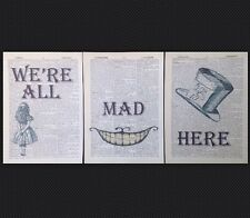 We're All Mad Here Alice In Wonderland Quote Prints Dictionary Wall Art Pictures