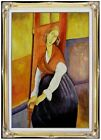 Framed, Modigliani Portrait of Jeanne Repro, Hand Painted Oil Painting 24x36in
