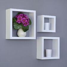 3 er Cube Regal Set Design Bücher CD Wandregal Hängeregal Matt Weiß D28