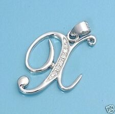 Initial CZ Pendant Sterling Silver 925 Best Price Letter Alphabet Jewelry Gift X