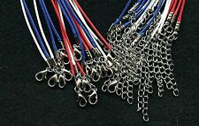 """Lot of (18) 18"""" (Patriotic Red/White/Blue) Nylon Waxed Cord Necklace"""