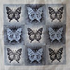 Butterflies (Swallowtails) - Hand printed Cotton Shopping Bag silver and black