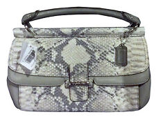 NWT Coach 48921 Madison Pinnacle Grey Python Embossed Leather Dowel Clutch $348