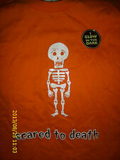 HALLOWEEN ITS THE THING  GLOW IN THE DARK SCARED TO DEATH  ORANGE T SHIRT