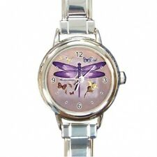 NEW LADIES ITALIAN CHARM WATCH PURPLE DRAGONFLY