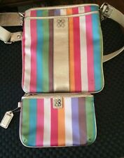 Coach Julia Stripe Metallic Legacy SwingPack Crossbody +Matching Wristlet Wallet
