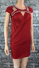 NWT Pretty Dark Red Diamonte Open Back Mini Bodycon Club Party Dress Size 8