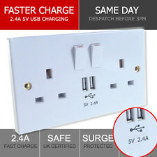 2.4A UK Double Socket USB 13A 2 Gang Port Electric Wall Plug with 2 USB Outlets