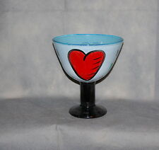 Kosta Boda Large Hearts Footed Enamel Bowl Hydman Vallien 7050242 Signed