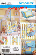 SIMPLICITY SEWING PATTERN 3795 BABY QUILT, COT SHEET, BUMPERS, ORGANISER, CANOPY