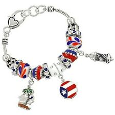 Puerto Rico Charm Bracelet Beaded SILVER BLUE RED Flag Palm Tree Theme Jewelry