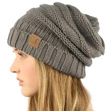 Oversized Chunky Thick Soft Stretch Knit Slouch Beanie Skull Ski Hat Cap Gray