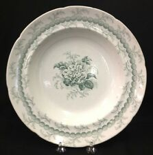 Rose And Chain Soup Bowl Green Transferware Ridgway 1845 Staffordshire China