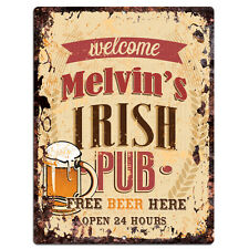 PMBP0124 MELVIN'S IRISH PUB Rustic tin Sign PUB Bar Man cave Decor Gift