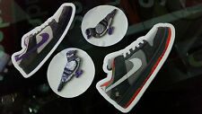 A PAIR OF CUSTOMIZED NIKE SB PURPLE PIGEON PATCHES WITH 2 FREE STICKERS NYC DUNK