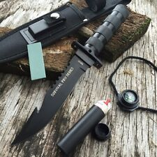 "11"" Tactical Fishing Hunting Survival Knife & Sheath Bowie Survival Kit Camping"