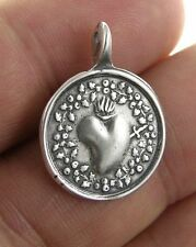 IMMACULATE HEART WITH ROSES Medal, silver, cast from antique French original