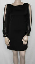 NEW Eliza J Size 8 Black Chiffon Split Sleeve Crepe Shift Cocktail Dress