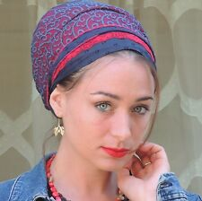Blue Red Tichel,Hair Snood Head Scarf,Head Covering,jewish head covering Tichels
