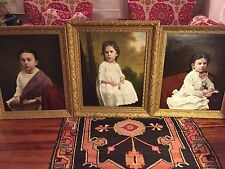 Antique Early 1800's Original Oil Canvas Little Girls Portrait Paintings Framed
