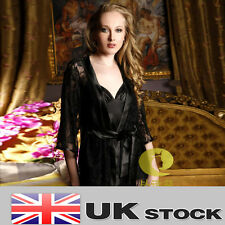 BLACK LACE+STAIN CHEMISE ROBE SET 3PCS SET SEXY LIGERIE SLEEPWEAR UK SELLER W42