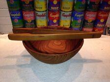 Vintage set DANSK Teak Tongs & SAGI Switzerland Salad Pasta Bowl