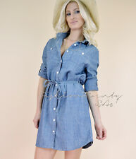 Blue CHIC DENIM Casual Belted Chambray Tunic Cotton Boho Country Shirt Dress M