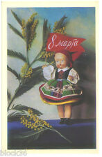 1968 Russian card MARCH 8 GREETINGS Doll in ethnic costume holds red flag