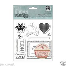 Papermania craft Christmas Urban stamp set of 11 stamps snowflake reindeer tags