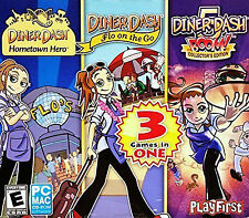 New! PC Diner Dash 3 Games! Hometown Hero, Flo Go, and Boom! Collectors Edition