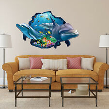 3D Dolphins Views Sticker Removable Vinyl Mural Wall Decals Living Room Decor