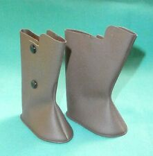 "pair of doll boots/ plastic 2.4"" brown/doll clothing/Germany"