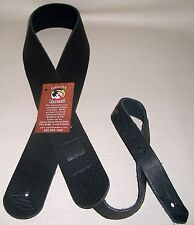 "Lakota Leathers Soft Thick Bison Buffalo  Leather guitar strap   2"" BLACK"
