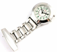 Ravel Nurses Fob Watch Silver Tone, EL Backlight, Easy Read Latest Model, Unisex