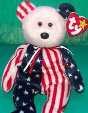 TY Beanie Baby SPANGLE with Pink FACE Teddy Bear MWMT Retired USA Flag Pattern