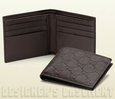 GUCCI Mens dark Espresso Leather GUCCISSIMA embossed Bifold wallet NIB Authentic