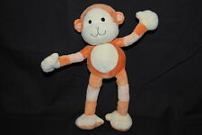 "Carters Orange Yellow Poseable Monkey Chimp Soft Baby Plush Toy 10"" Cute Lovey"