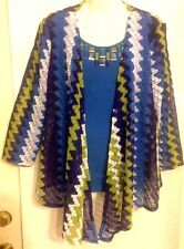 RUBY RD. Size XL Embellished Beaded Scoop Neck Top With Jacket 3/4 Sleeve