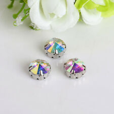50pcs 12mm Sew On round foiled rhinestone crystal bead point back glass y-pk