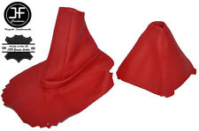 RED LEATHER FOR BMW Z4 E85 E86 COUPE ROADSTER GEAR + HANDBRAKE GAITER SET