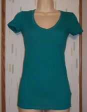Express Best Loved Tee  Woman's XS Teal Green w Pocket Cotton Blend Knit Top
